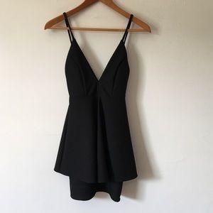 Lulu's Bodycon Plunge Wrap-Layer Mini Dress